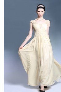 Modern Champagne Column/Sheath Chiffon V-neck Sleeveless Lace Ankle Length Zipper Prom Party Dress