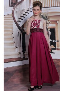 Beautiful Sleeveless Chiffon Floor Length Side Zipper Prom Gown in Burgundy with Beading and Appliques