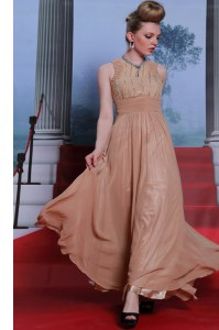 Scoop Peach Sleeveless Floor Length Beading and Sequins and Ruching Clasp Handle Prom Evening Gown