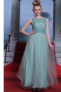 Light Blue Sleeveless Beading and Appliques and Ruching Floor Length Prom Party Dress