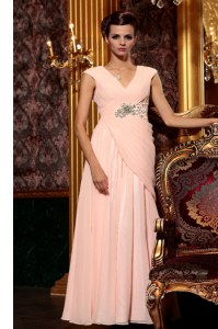 Beading and Embroidery and Ruching Cocktail Dresses Baby Pink Side Zipper Cap Sleeves Floor Length