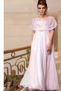 Edgy Scoop Beading Prom Party Dress Pink Side Zipper Cap Sleeves Ankle Length
