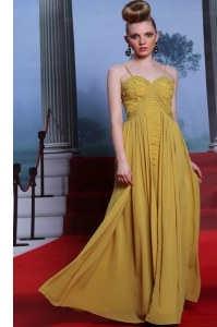 On Sale Gold Sleeveless Floor Length Appliques Side Zipper Prom Dress
