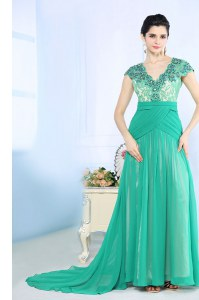 Lovely Turquoise Chiffon Side Zipper Cap Sleeves With Brush Train Beading and Lace and Ruching