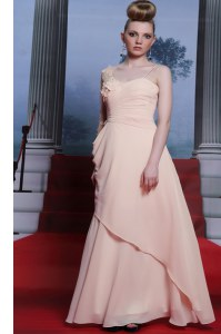 One Shoulder Floor Length Side Zipper Prom Gown Baby Pink for Prom and Party with Appliques and Ruching