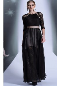 Scoop Half Sleeves Chiffon Floor Length Zipper Prom Dress in Black with Lace
