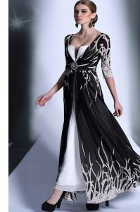 Elegant Black Chiffon Zipper Square Half Sleeves Ankle Length Prom Evening Gown Pattern
