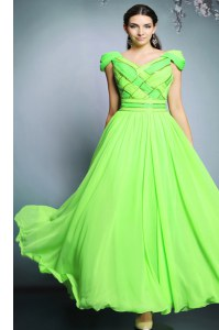 Empire Pattern Prom Dresses Backless Chiffon Short Sleeves Floor Length