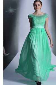 Scoop Turquoise Cap Sleeves Beading Floor Length Junior Homecoming Dress