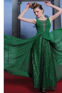Chiffon and Sequined Scoop Sleeveless Side Zipper Beading Prom Gown in Dark Green