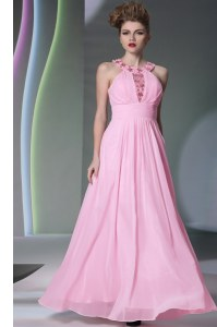 Dynamic Halter Top Rose Pink Empire Beading Prom Dress Side Zipper Chiffon Sleeveless Floor Length