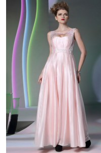 Scoop Baby Pink Zipper Evening Dress Beading Sleeveless Floor Length