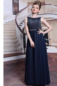 Dynamic Floor Length Zipper Prom Party Dress Navy Blue for Prom and Party with Beading and Appliques