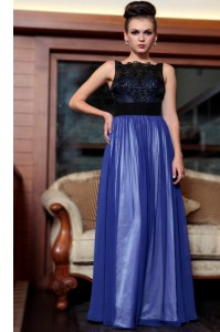 Blue And Black Chiffon Side Zipper Evening Dress Sleeveless Floor Length Beading and Appliques