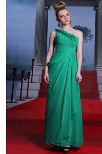 One Shoulder Floor Length Side Zipper Turquoise for Prom and Party with Beading and Ruching