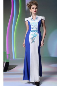 Colorful Blue And White Zipper V-neck Embroidery Evening Dress Chiffon Cap Sleeves