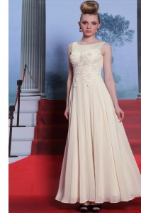New Style Scoop Sleeveless Side Zipper Winning Pageant Gowns White Chiffon