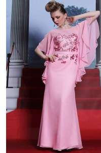 Scoop Half Sleeves Chiffon Floor Length Zipper Dress for Prom in Rose Pink with Beading