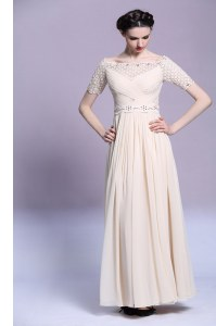 Sleeveless Floor Length Beading and Appliques and Ruching Zipper Evening Dress with Champagne