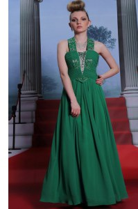 Halter Top Sleeveless Chiffon Floor Length Zipper Prom Gown in Teal with Beading and Ruching