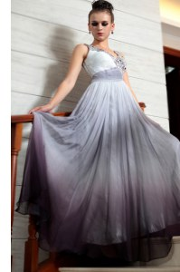 Sophisticated Multi-color Side Zipper V-neck Beading and Appliques and Ruching Homecoming Dress Chiffon Sleeveless