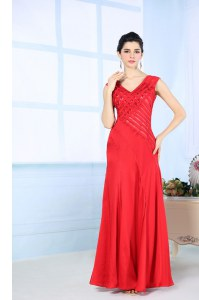 Red Junior Homecoming Dress Prom and Party and For with Beading V-neck Sleeveless Side Zipper