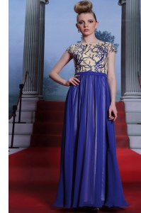 Pretty Sequins Scoop Cap Sleeves Zipper Evening Dress Royal Blue Chiffon