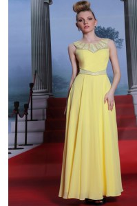 Scoop Chiffon Sleeveless Floor Length Evening Dress and Lace