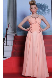 Stunning Halter Top Floor Length Empire Sleeveless Peach Dress for Prom Zipper