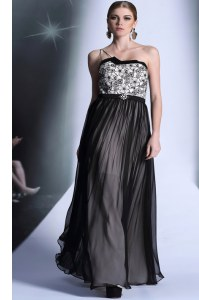 Fantastic Floor Length Black Prom Dresses Strapless Sleeveless Side Zipper