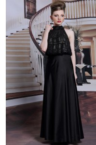 Decent Black Satin Zipper Prom Dresses Sleeveless Floor Length Beading