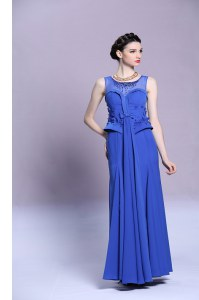 Custom Design Scoop Blue Sleeveless Floor Length Beading and Appliques Zipper Evening Dress