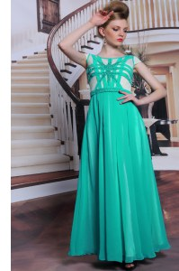 Turquoise Column/Sheath Chiffon Scoop Cap Sleeves Beading Floor Length Side Zipper Homecoming Dress
