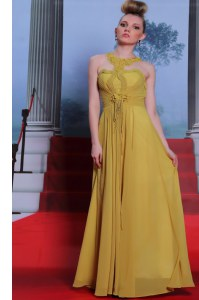 Gold Column/Sheath Scalloped Sleeveless Chiffon Floor Length Clasp Handle Appliques and Ruching Prom Dresses