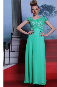 Custom Designed Scoop Floor Length Green Prom Evening Gown Chiffon Cap Sleeves Appliques
