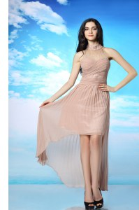 Fashion Chiffon Sleeveless High Low Evening Dress and Ruching