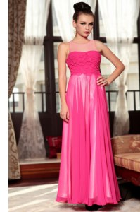 Fashion Scoop Sleeveless Homecoming Dress Ankle Length Ruching Hot Pink Chiffon