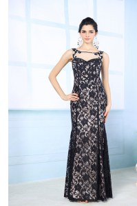 Customized Black Column/Sheath Scoop Sleeveless Chiffon Floor Length Side Zipper Lace Prom Dress