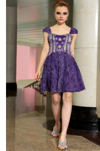 Stylish Purple Empire Lace Square Sleeveless Beading Mini Length Zipper Prom Dresses