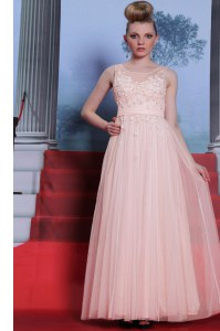 Captivating Scoop Floor Length Side Zipper Prom Dress Baby Pink for Prom and Party with Lace