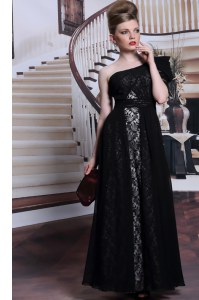 Sumptuous One Shoulder Sequins Black Sleeveless Lace Side Zipper Prom Gown for Prom and Party