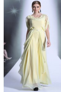 Scoop Short Sleeves Evening Dress Floor Length Lace and Ruffles Light Yellow Organza