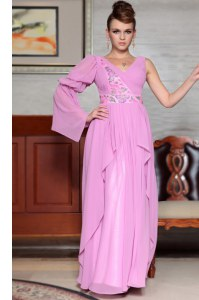 Lilac Side Zipper Prom Dresses Beading and Ruching and Pattern Long Sleeves Ankle Length