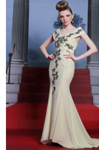 Enchanting Mermaid Light Yellow Cap Sleeves With Train Embroidery Side Zipper Prom Evening Gown