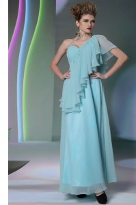 Noble One Shoulder Light Blue Chiffon Side Zipper Prom Evening Gown Cap Sleeves Ankle Length Ruffles