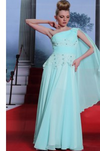 Amazing Turquoise Chiffon Side Zipper One Shoulder Sleeveless Floor Length Celebrity Dress Lace and Ruching