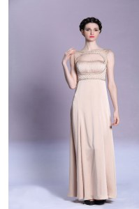 Suitable Sleeveless Satin Floor Length Backless Prom Gown in Peach with Beading and Ruching