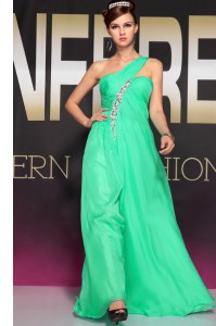 One Shoulder Turquoise Sleeveless Beading and Ruching Floor Length Prom Dresses
