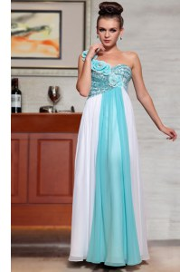 Sequins Ankle Length Blue And White Prom Evening Gown Straps Sleeveless Side Zipper