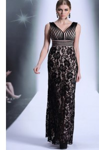 Floor Length Black Prom Evening Gown Chiffon and Lace Sleeveless Lace and Belt